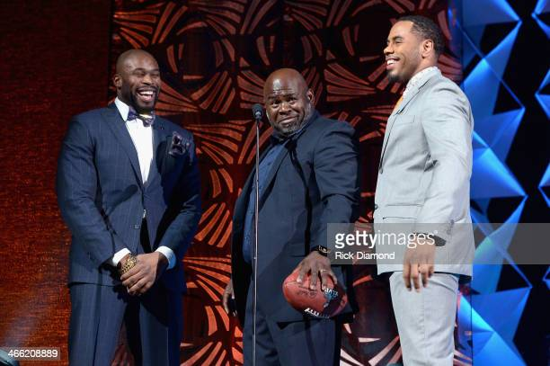 Israel Idonije David Mann and Rashad Jennings speak onstage at the Super Bowl Gospel Celebration 2014 at The Theater at Madison Square Garden on...