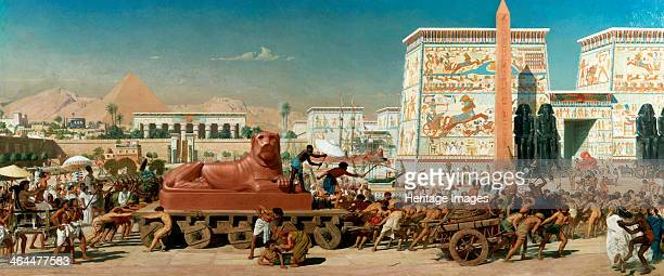 'Israel in Egypt' 1867 Dramatic scene set in Ancient Egypt showing Israelite slaves pulling a giant statue of a lion during the construction of the...
