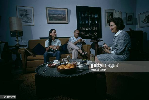 Israel in July 1967 Moshe Dayan has Zahala home in the suburbs of Tel Aviv in his living room with his wife Ruth and daughter Yael