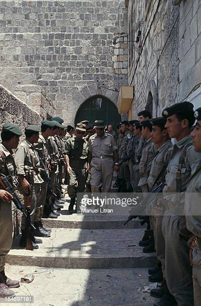 Israel in July 1967 Moshe Dayan in Jerusalem surrounded by military advances amidst a guard of honor