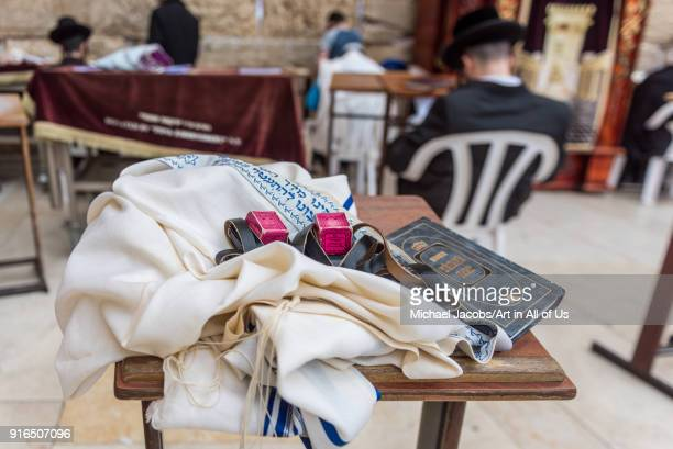 Tefillin siddur and tallit at the Western wall kotel