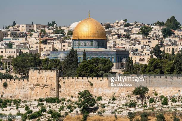 Israel, Jerusalem, al-Haram ash-Sharif, The Dome of the Rock shrine or Qubbat As-Sakhrah was built within the walls of the Old City on the Jewish...