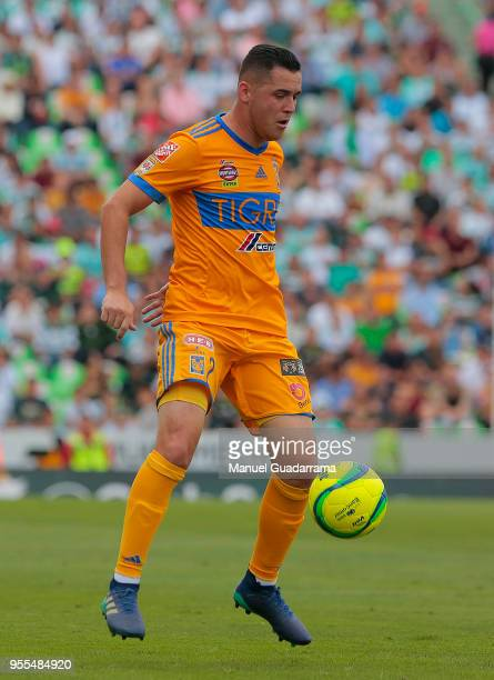 Israel Jimenez of Tigres controls the ball during the quarter finals second leg match between Santos Laguna and Tigres UANL as part of the Torneo...