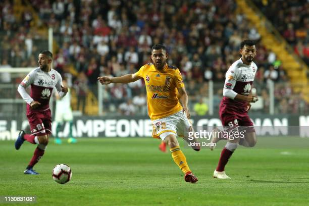 Israel Jimenez of Tigres UANL dominates the ball during the first leg of the CONCACAF Champions League 2019 at the Ricardo Saprissa stadium on...