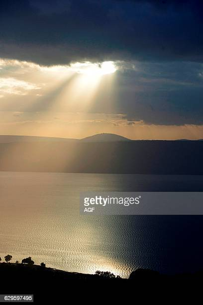 Israel Lake of Tiberias Also Known As the Sea of Galilee In the Background Mount Tabor the Site of Jesus Transfiguration