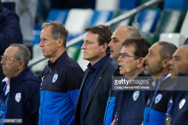 Israel manager Andi Herzog with his coaching team during the International Friendly match between Northern Ireland and Israel at Windsor Park on...