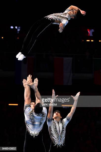 Israel Men's Group Lidar Dana Yannay Kalfa Efraim Sach Daniel Uralevitch perform during the finals of the men's group on the third day of the 26th...
