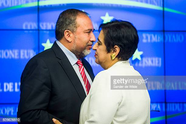 Israel Minister for Foreign Affairs Avigdor Liberman, Cypriot Foreign Affairs minister Erato Kozakou-Marcoulis give a press conference on July 24,...