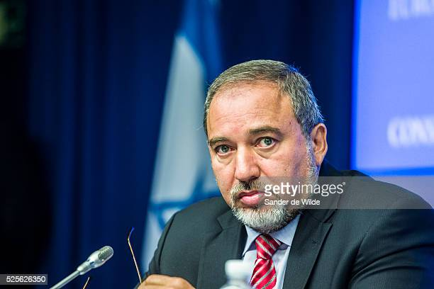 Israel Minister for Foreign Affairs Avigdor Liberman gives a press conference on July 24, 2012 following an EU-Israel Association Council meeting at...