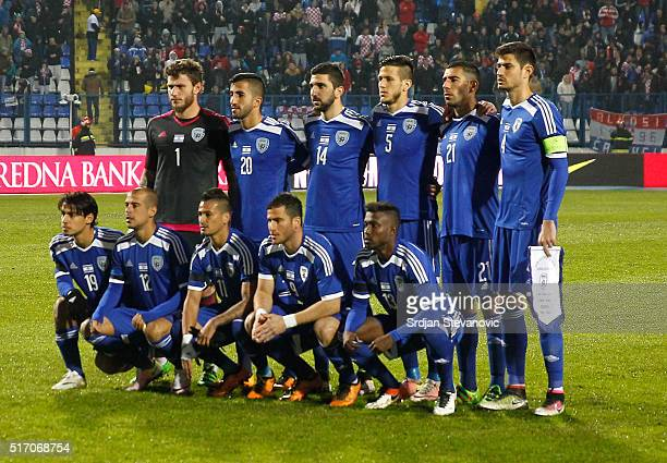 Israel national football team pose for the photo before the International Friendly match between Croatia and Israel at Stadium Gradski Vrt on March...