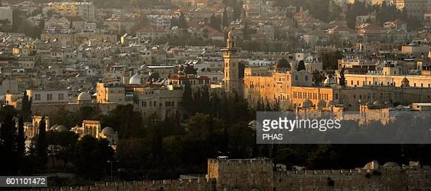 Israel Old City of Jerusalem Walls Sunset