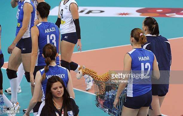 Israel player carry their mascot during the Women's Volleyball European Championship match between Israel and Czech Republic on September 26 2011 in...