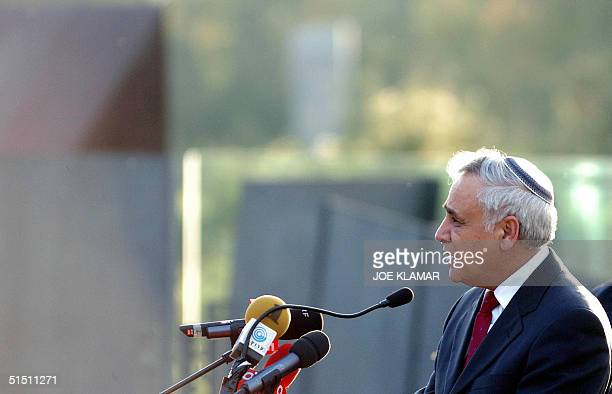 Israel President Moshe Katsav speaks during his tour around Mauthausen concentration camp built by the Nazis during World War II in Mauthausen 20...