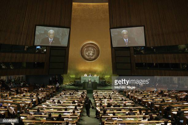 Israel Prime Minister Ariel Sharon speaks during the 3rd meeting of the Highlevel Plenary Meeting of the General Assembly at the United Nations on...