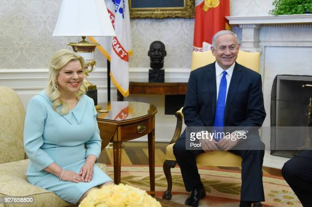 Israel Prime Minister Benjamin Netanyahu and Sara Netanyahu in the Oval Office of the White House March 5, 2018 in Washington, DC. The prime minister...