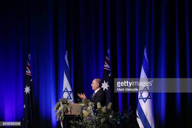 Israel Prime Minister Benjamin Netanyahu speaks at a luncheon at Sydney International Convention Centre on February 22 2017 in Sydney Australia...