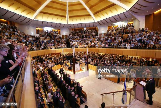 Israel Prime Minister Benjamin Netanyahu speaks at the Central Synagogue on February 22 2017 in Sydney Australia Netanyahu's visit to Australia will...