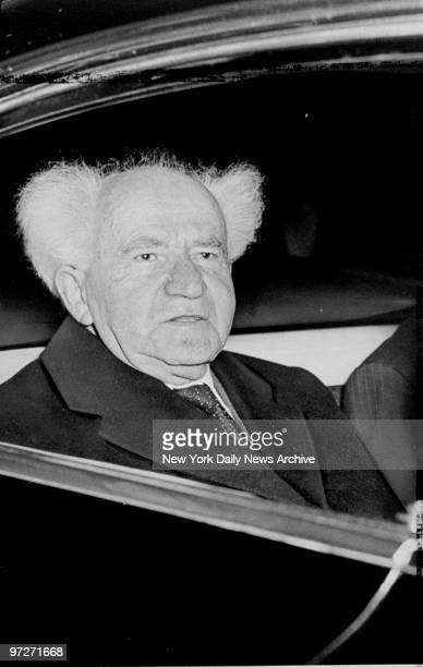 Israel Prime Minister David Ben-Gurion leaves International Airport on arrival and will have talks with President Kennedy on Mideast problems.