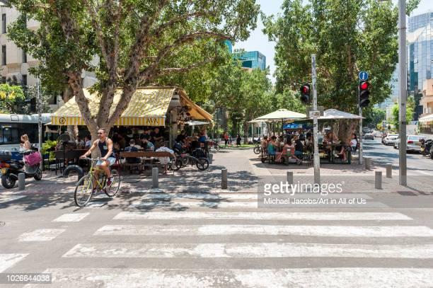 Israel, Tel Aviv - 13 July 2018: Coffee kiosque on Rothschild boulevard