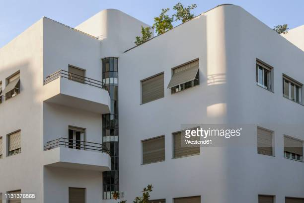israel, tel aviv, white city, rothschild boulevard, bauhaus style - roller shutter stock pictures, royalty-free photos & images