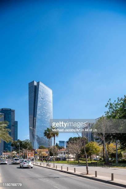 Israel, Tel Aviv-Yafo - 08 March 2019: Azrieli Sarona high-rise office building designed by Moshe Tzur architects, Tel Aviv, Israel