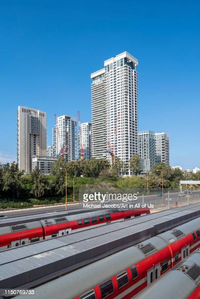 Israel, Tel Aviv-Yafo - 23 February 2019: Ayalon highway and Park Tzameret residential neighborhood in the background