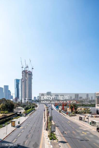 Israel, Tel Aviv-Yafo - 23 February 2019: Completed and in construction high-rise office buildings