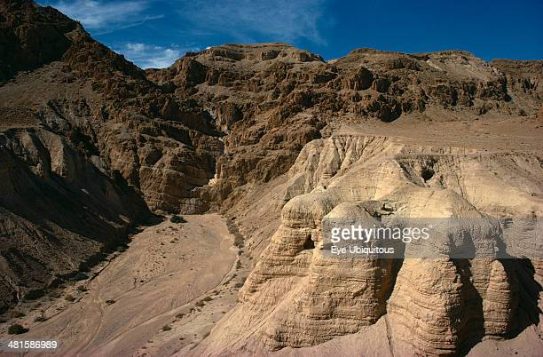 Israel, West Bank, Qumran Caves, View of eroded rock canyon where the Dead Sea scrolls were found.