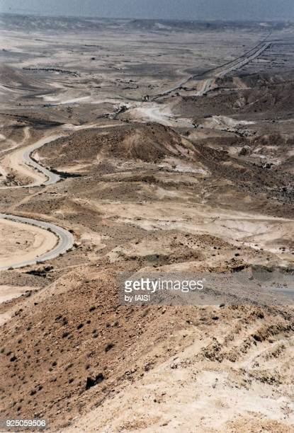 Israel-Egypt border, the Sinai and Negev desert with the road on the border