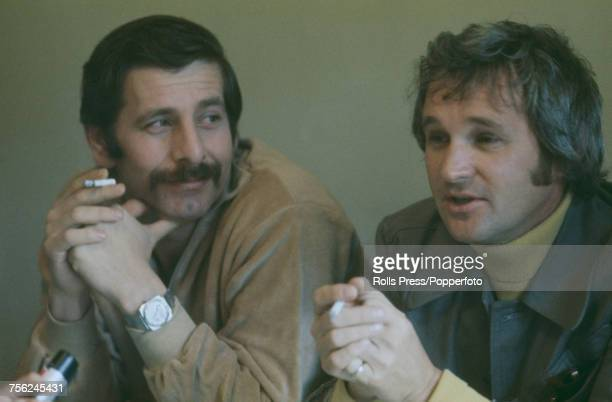 Israeli actor Chaim Topol pictured left with Canadian film director Norman Jewison at a press conference in New York to promote the release of the...