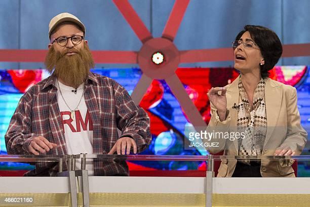 Israeli actors portraying head of the farright Jewish Home party Naftali Bennett and Israeli Arab Knesset member Hanin Zuabi talk on the set of...