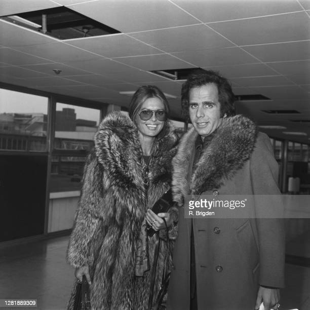 Israeli actress Daliah Lavi at London Airport UK with her fiance Peter Rittmaster 17th January 1973