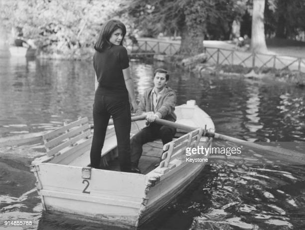 Israeli actress Daliah Lavi in a rowing boat with actor Gianfranco Piacentini in the gardens of the Villa Borghese in Rome Italy 20th January 1962