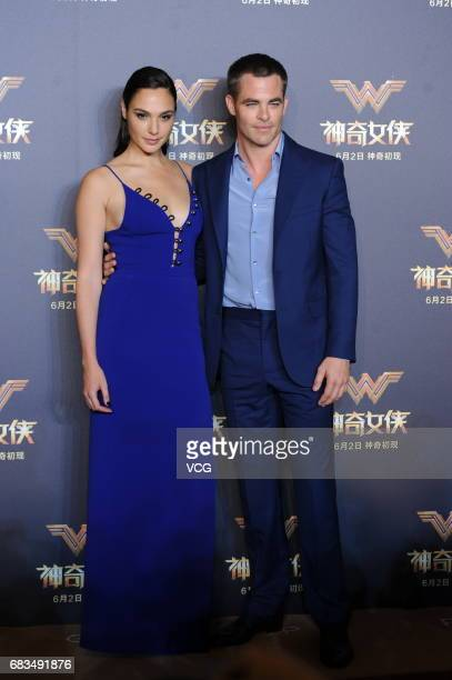 Israeli actress Gal Gadot and American actor Chris Pine attend the press conference for film Wonder Woman on May 15 2017 in Shanghai China
