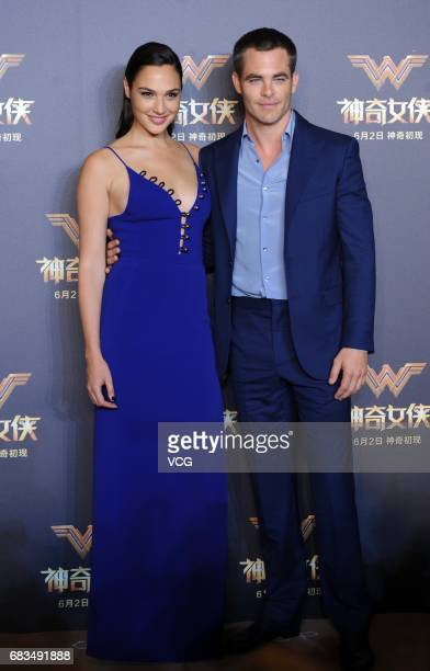 Israeli actress Gal Gadot and American actor Chris Pine attend the press conference for film 'Wonder Woman ' on May 15 2017 in Shanghai China