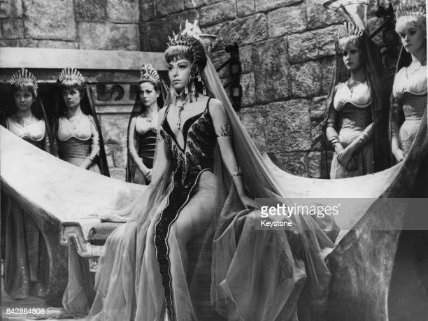 Israeli actress Haya Harareet as Antinea Queen of Atlantis on the set of the film 'Antinea' later titled 'Journey Beneath the Desert' in Rome Italy...
