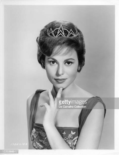 Israeli Actress Haya Harareet in a publicity shot wearing a tiara and a princess like costume United States