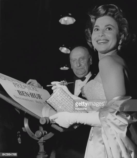 Israeli actress Haya Harareet signs a scroll at the premiere of the film 'Ben Hur' at the Empire Leicester Square London 16th December 1959 She plays...