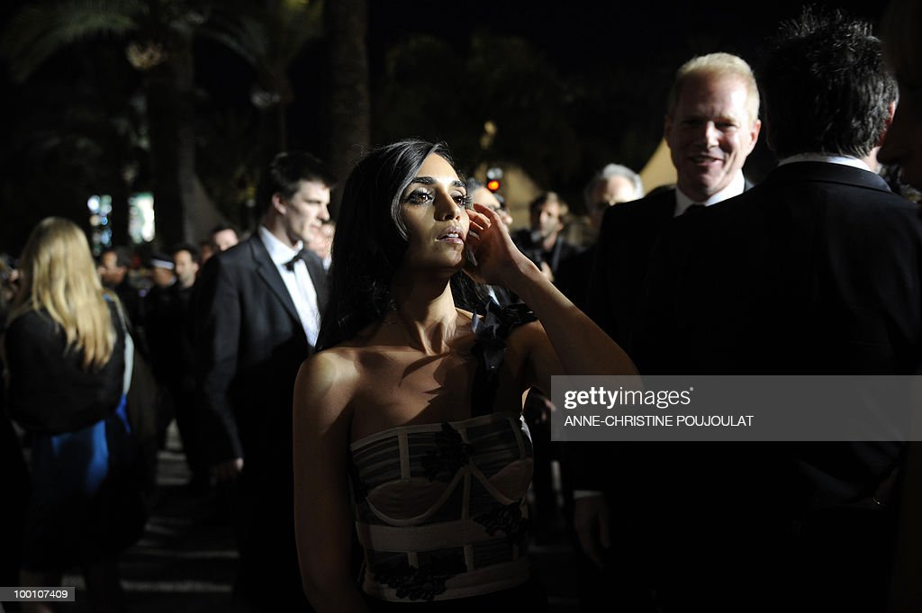Israeli actress Liraz Charhi leaves after the screening of 'Fair Game' presented in competition at the 63rd Cannes Film Festival on May 20, 2010 in Cannes.