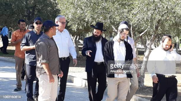 Israeli Agriculture Minister Uri Ariel is seen at the AlAqsa compound after he and dozens of Israeli settlers forced their way into the flashpoint...