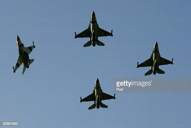 Israeli Air Force F16 fighter planes fly over the state funeral of former Israeli President Ezer Weizman April 26 2005 in the northern Israeli town...
