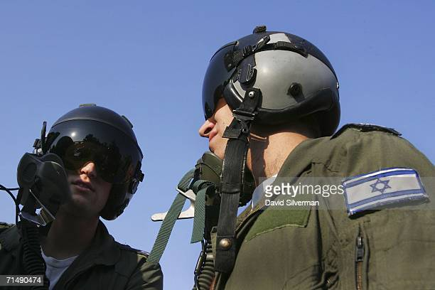 Israeli Air Force pilots F16C Falcon jet fighter pilots wait for flight orders July 20 2006 at Ramat David Air Base in northern Israel The pilots of...