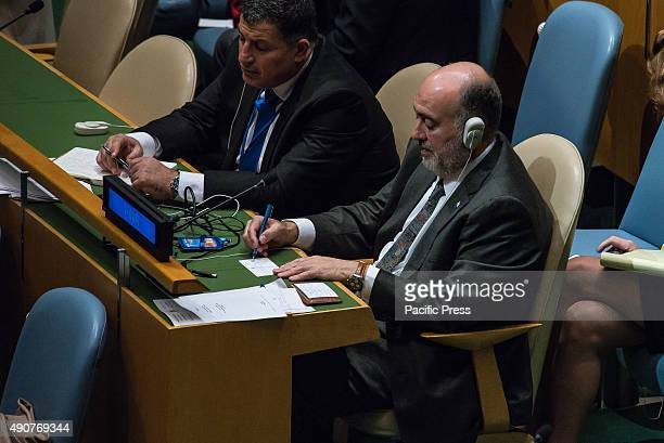 Israeli Ambassador Prosor listens to a translation of Abbas' speech Palestinian President Mahmoud Abbas spoke at the United Nations General Assembly...