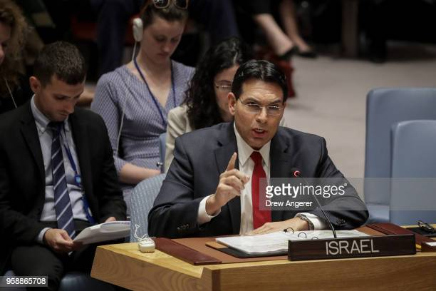 Israeli ambassador to the United Nations Danny Danon speaks during a UN Security Council meeting concerning the violence at the border of Israel and...