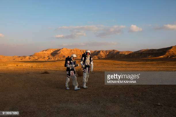 Israeli analog astronauts start their mission on the DMARS Project on February 18 in cooperation with the Israel Space Agency which simulates life on...