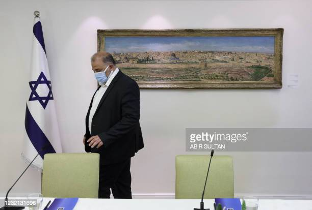 Israeli Arab politician, leader of the United Arab list, Mansour Abbas attends consultations with Israeli President Reuven Rivlin on who might form...