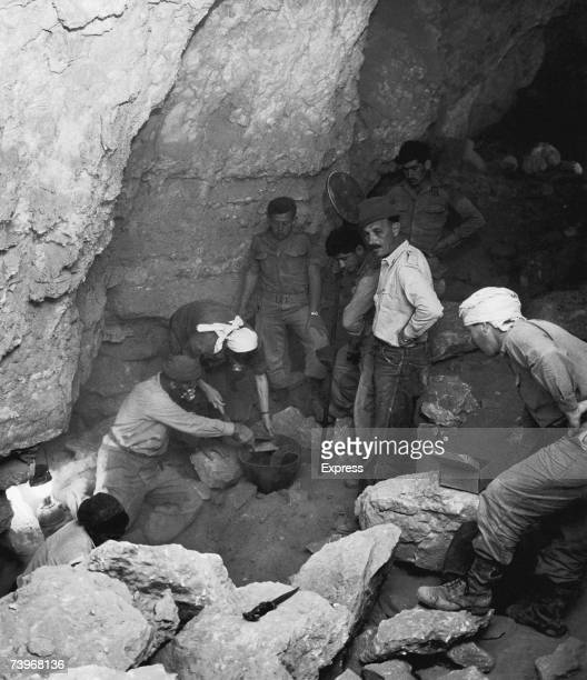 Israeli archaeologist Yigael Yadin at the excavation site of the Dead Sea Scrolls in Wadi Qumran circa 1953