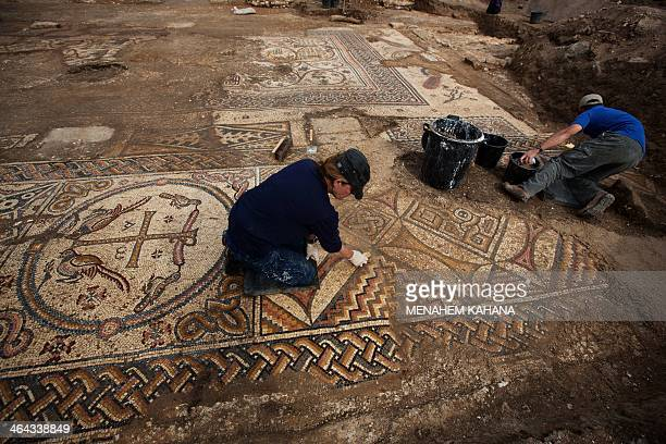 Israeli archaeologists excavate a 1500yearold floor mosaic depicting the resurrection of Jesus Christ in a newlydiscovered church dating back to the...