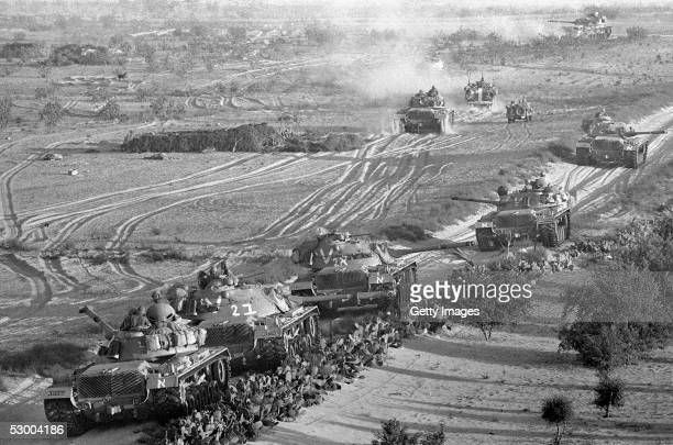 Israeli armor advances against Egyptian troops at the start of the SixDay War June 5 1967 near Rafah Gaza Strip Thirtyeight years after Israel...