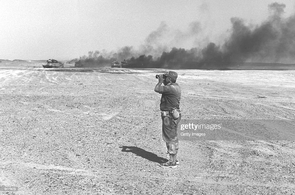 Israeli army Brigadier-General Ariel Sharon watches an aerial drop during a battle against Egyptian forces in the Six Day War June 8, 1967 in the Sinai Desert. Sharon, now leader of Israel's right-wing opposition Likud Party, is challenging incumbent Prime Minister Ehud Barak for the leadership of Israel in the upcoming February 6, 2001 elections.